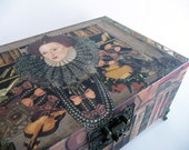 Queen Elizabeth Keepsake - Queen of England - keepsake box in rust orange cream - Historical Gifts - OOAK Home decor