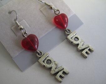 Red heart Valentine love earrings