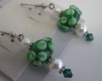 Green floral lampwork glass and Swarovski crystal St. Patrick's Day earrings