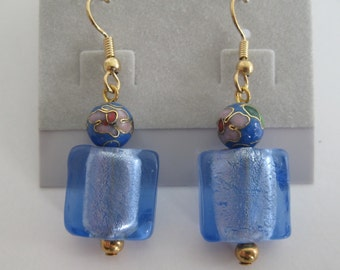 Blue foil glass and cloisonne earrings