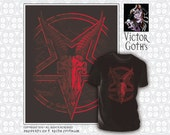 """The """"Devil Made Me Draw It"""" Goat Skull On Pentagram - Hand-printed T-shirt with front and back print"""