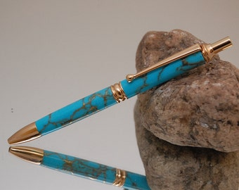 Handmade Click Style Pen, 24 kt Gold Plating with Blue Turquoise