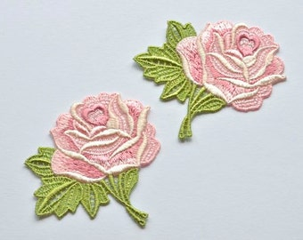 Pink Roses Embroidered Flower Appliques, Set of Two, Shabby Chis Roses for Sewing
