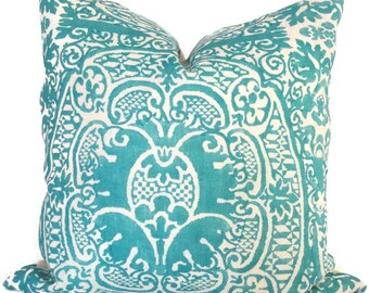 Decorative Pillow Cover Quadrille Turquoise Veneto Pillow Cover, Square, Eurosham or Lumbar Pillow, Accent Pillow, Throw Pillow, Toss Pillow