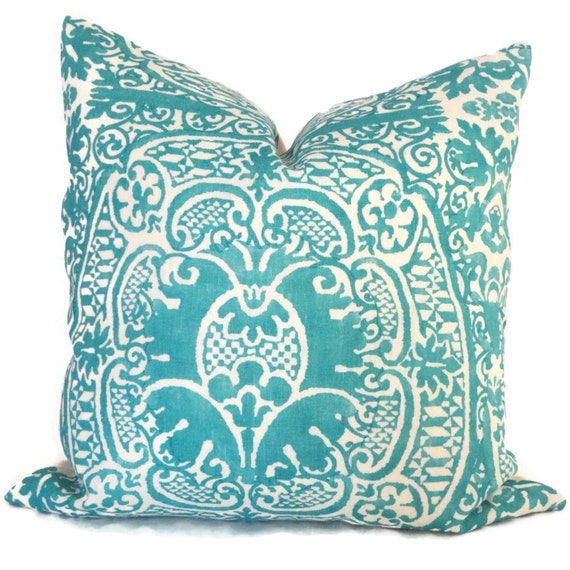 Queen Throw Pillows : Items similar to Decorative Pillow Cover Quadrille Turquoise Veneto Pillow Cover 20x20, Accent ...
