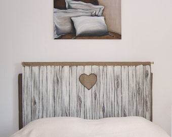 Headboard trompe l'oeil Wooden door reproduction on fabric for bed room cottage rustic decoration trend hygge