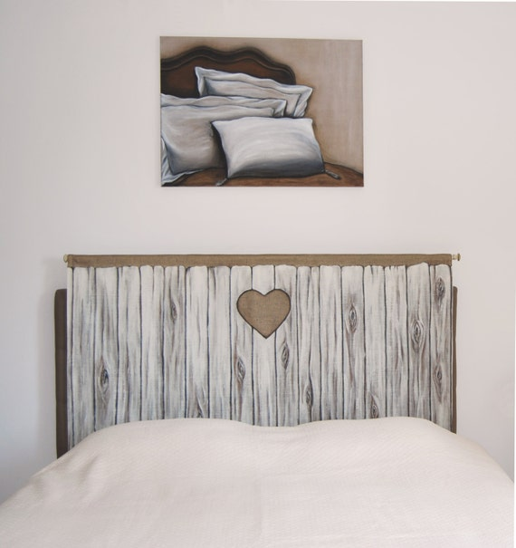 Items similar to headboard trompe l 39 oeil wooden door reproduction on fabric for bed room cottage - Trompe loeil hoofd bed ...