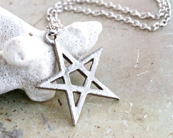 Pentagram Necklace - Five Pointed Star Pendant on Chain - Quirky Jewelry