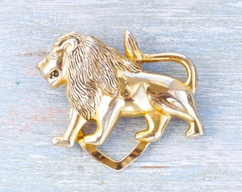 lion Scarf Clip - Golden Collar Clip - Vintage Jewelry
