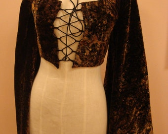 Gold velvet two piece with huge sleeve