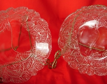 2 Clear Glass Bowls with Pear and Leaf Design