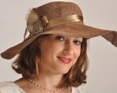 Brown Straw Summer Hat for Women, long brim sun hat,  one of a kind womens' straw hat. large hat U.K.