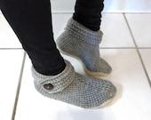 Crochet Pattern-- Women's Buttoned Up Slipper --Crochet Pattern