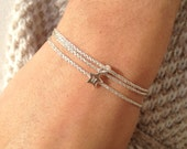 SIENNA - Personalized Wrap bracelet tiny engraved charm - Sterling silver or Gold Filled charm and glitter cord
