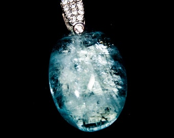 Aquamarine Pendant with white gold bail set with CZ 35ct March birthstone