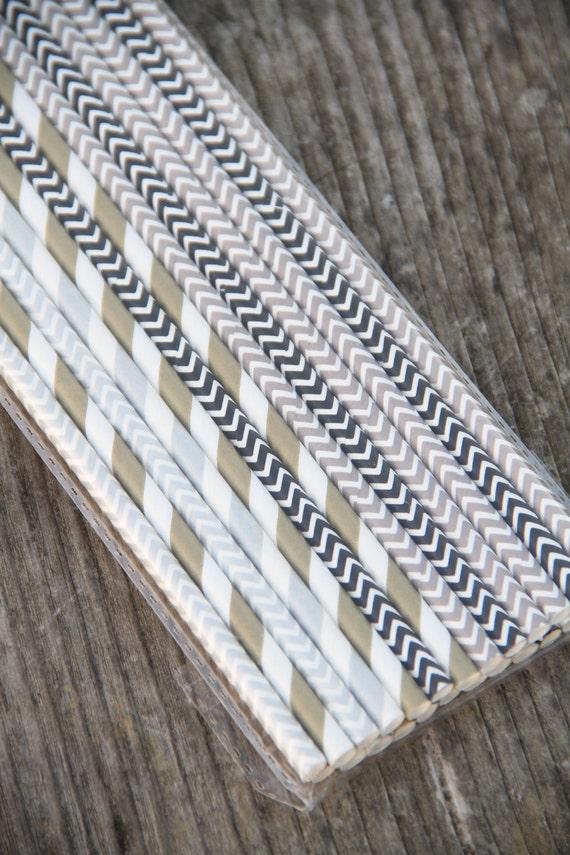 Mix di 25 cannucce sui toni del grigio/nero - 25 Mix Party Paper Straws