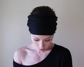BLACK Yoga Headband - Wide Jersey Head Scarf - Boho Hair Wrap - Bohemian Headscarf - EcoShag Hair Accessories - Womens Hair Accessory