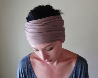TAN Head Scarf - Tan Hair Wrap - Extra Wide Jersey Headband - Yoga Hair Accessory - Workout Hair Accessory - Lightweight Head Scarf