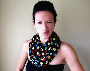 POLKA DOT Infinity Scarf - Colorful Jersey Loop Scarf - Polkadot Circle Scarf - Womens Fashion Scarves - Fun Carnival Tube Scarf