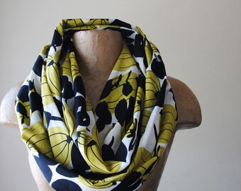 ABSTRACT PRINT Infinity Scarf - Dark Goldenrod and Black Botanical Loop Scarf - Cotton Circle Scarf - Lightweight Scarf