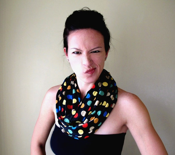POLKA DOT Infinity Scarf - Colorful Jersey Loop Scarf - Polkadot Circle Scarf - Womens Fashion Scarves - Fun Carnival Tube Scarf
