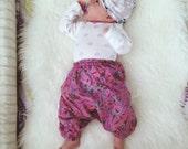 0-3 Months, Baby harem pants, floral baby girl leggings, children's leggings, tribal baby, hippie baby, bohemian baby shower gift