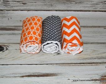 Gray and Orange Baby Burp Cloths - Boutique Orange Gray Burp Cloth Set - Gray and Orange Burp Cloths