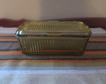 Vintage Federal Glass Loaf Size Amber Covered Refrigerator Dish