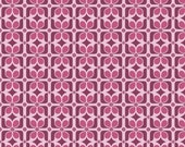 LAMINATED cotton fabric - Graphic Orchid Halle Rose yardage (aka oilcloth, coated vinyl)