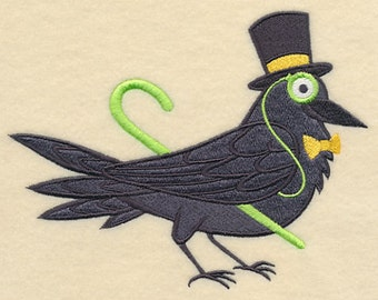 Brainy Raven in Glasses Embroidered Flour Sack Hand/Dish Towel