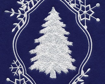 Frosty Framed Christmas Tree Embroidered Flour Sack Hand/Dish Towel