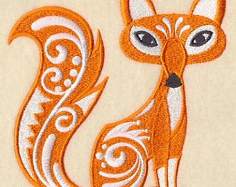 Flourish Fox Embroidered Flour Sack Hand/Dish Towel