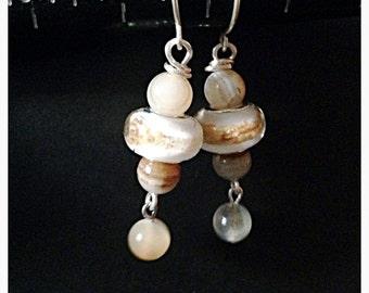 "Stripped agate & large Czech glass rondelle silver earrings // 1.5""L"