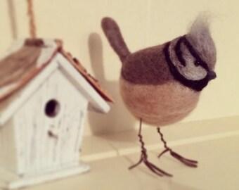 Handmade Crested Tit Needle Felted Bird
