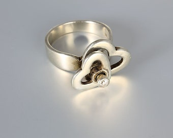 Modernist kinetic Diamond Heart ring, Sterling silver size 8 ring, vintage designer jewelry