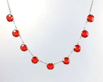 Sterling silver Art Deco Necklace, Red crystal Necklace, Open back 16 inch Short Delicate