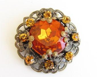 Vintage Art Deco Orange Amber Rhinestone Brooch