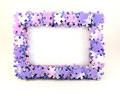 Pink Jigsaw Puzzle Quirky Photo Frame 4x6 inch Photos Game Purple Pastel Girls Bedroom Girly Present for Her Stocking Filler Upcycled Gift