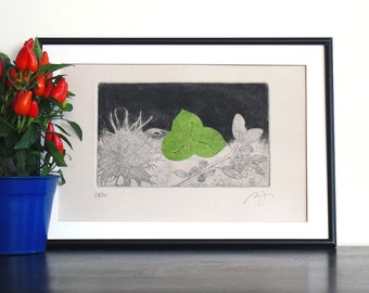 Original Collage Etching Print DEEP OCEAN Abstract Floral Mezzotint Printmaking Fine Art Wall Decor Mixed Media Print 11x8