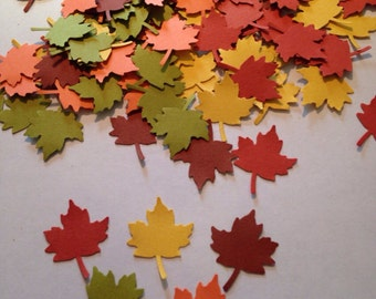 100 Fall Leaves Punch Die cuts Leaf Cut Out Leaf Confetti Embellishments Scrapbooking Thanksgiving Decor Thanksgiving Table Confetti
