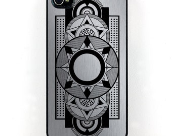 Geometric Silver and Black Art Deco iPhone case, plastic iPhone 4 5 6 Case, Vintage iPhone Case, retro cell phone case, iPhone accessory