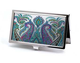 Paisley and Silver Business Card Case, Vintage style Credit Card Case, Retro Slim Metal Wallet, Pocket Case, Professional Executive Gift