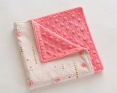 Coral Gold Lovey Security Blanket, Coral Minky Baby Blanket, Girl Baby Shower Gift, Brambleberry Ridge Rosemilk Sorbet