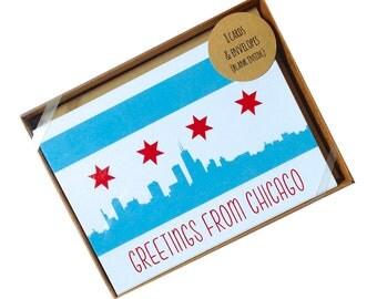 Chicago stationery, 8 piece chicago card set, chicago greeting card, chicago flag, chicago skyline stationary set
