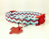 Red and Turquoise - Dog Collar - Adjustable