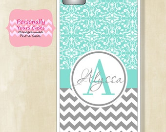 Personalized Phone Case - Monogram iPhone Case 7 - 5/5s -5c - 6 - 6Plus Galaxy S6 -Grey Chevron and Turquoise Damask - Rubber, Tough Case