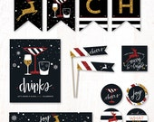Holiday Glitz (Red & Gold) Instant Download PRINTABLE Party Kit