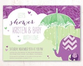 Showered with Love Baby Shower Invitations (Purple and Green) – Printable