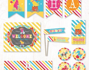 Circus Birthday Parade - Instant Download PRINTABLE Party Kit (Pink)