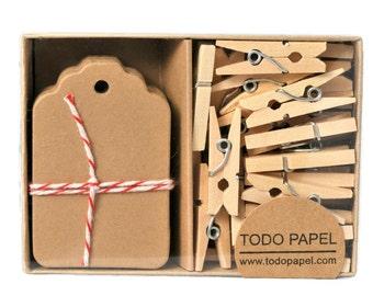 Boxed mini tags and clothespins set. Weddings Natural kraft 40 pack